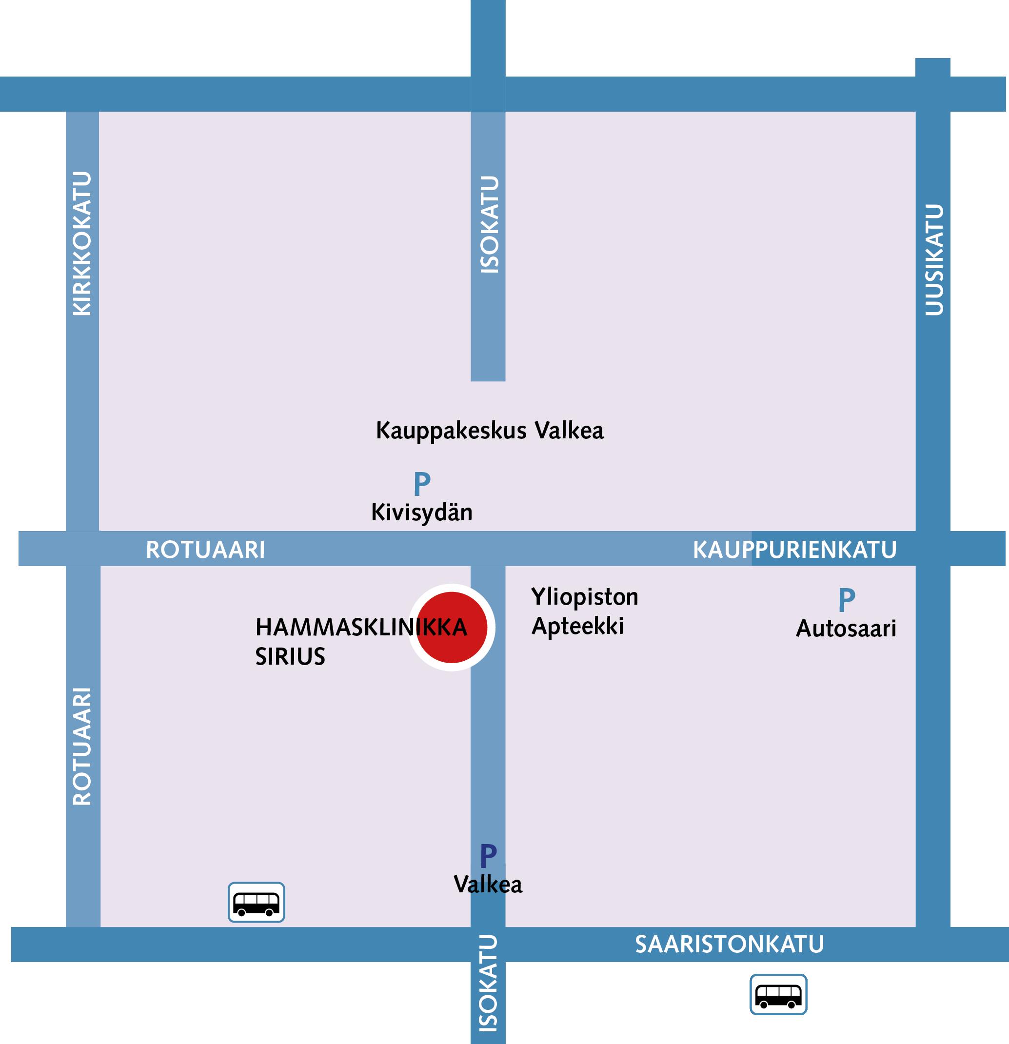 Hammasklinikka Sirius Oulu kartta